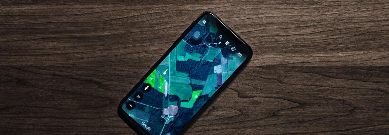 älypuhelin, karttasovelluksessa salaojakartta